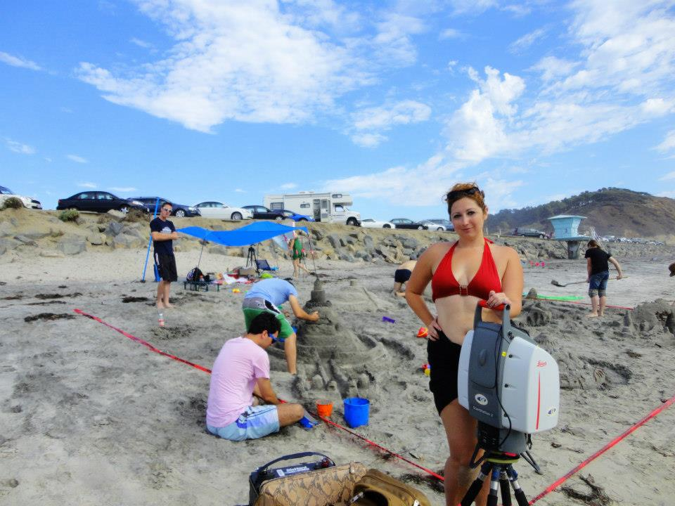 Ashley M. Richter with the Leica Scanstation 2 at the final Sandcastles for Summer outreach event.