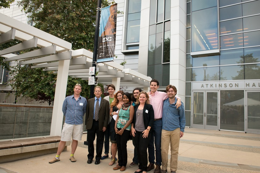 The UCSD Levantine Lab outside of Calit2's Atkinson Hall at the Exodus Event including MV, Professor Thomas E. Levy, Kyle Knabb, Ashley M. Richter, Sowparnika Balaswaminathan, Ian Jones, Kathleen Bennallack, Aaron Gidding, and fellow archaeologist Mikael Fauvelle.