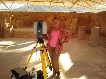 Ashley M. Richter with the Leica Scanstation 2 in the Byzantine Mosaic Church at Petra.