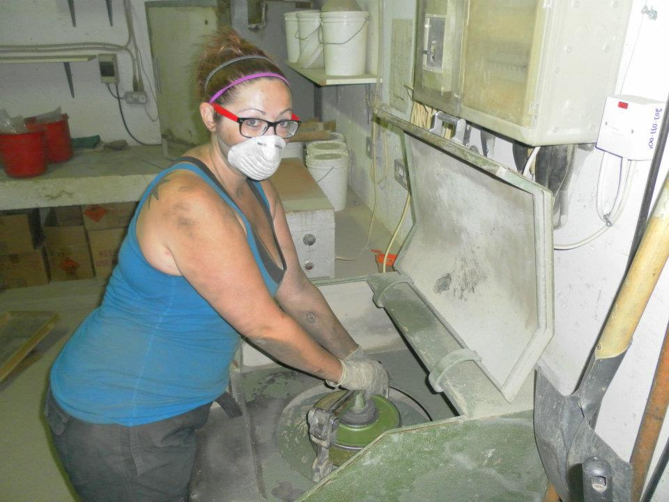 Ashley M. Richter- operating the Slag Crusher at the Skouriotissa Mine.