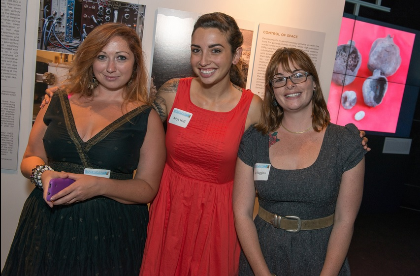 Ashley M. Richter with CURIIs Aliya Hoff and Kat Huggins at the opening of Exodus.