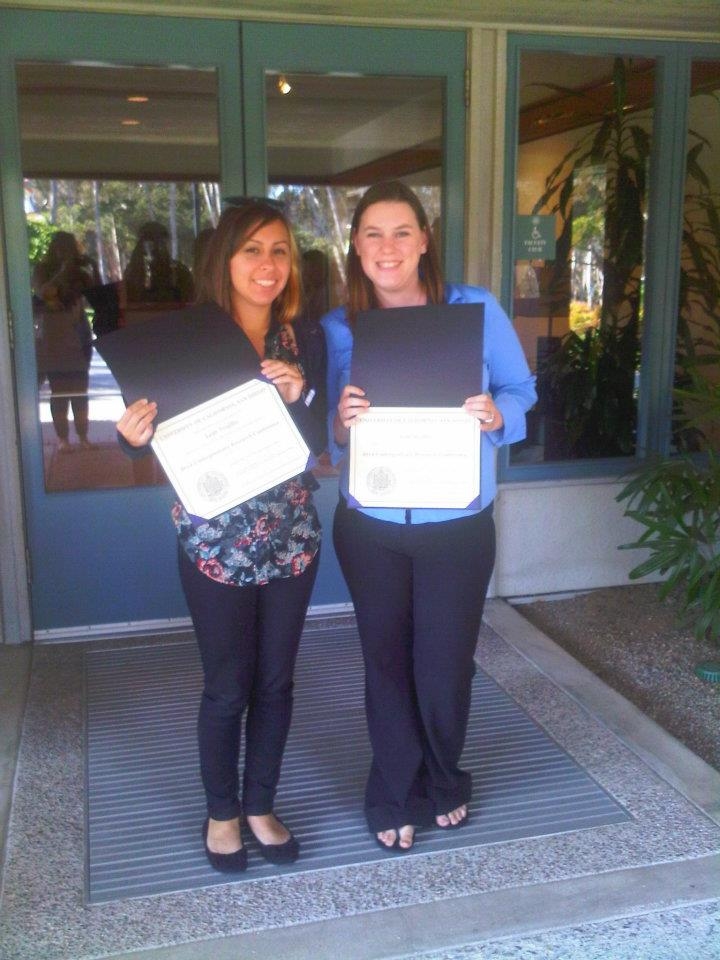 First CURII awards: Leah Trujillo & Annie Jessup with their certificates from the 2012 UCSD Faculty Mentorship Conference.