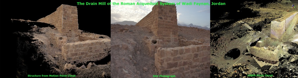 A comparative of imaging techniques at the Wadi Faynan aqueduct's drain mill in Jordan.