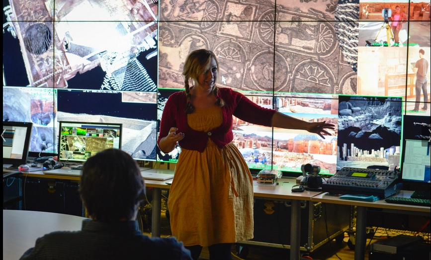 Ashley M. Richter showing off the latest archaeological LiDAR results from Petra.
