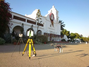 The CyArk & CISA3 scanners and opti-copters for the Mission San Luis Rey digitization survey (Image courtesy CyArk).