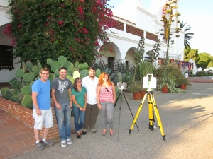 Leah Trujillo & Ashley M. Richter join the CyArk team led by Justin Barton to digitize Mission San Luis Rey (Image courtesy CyArk).