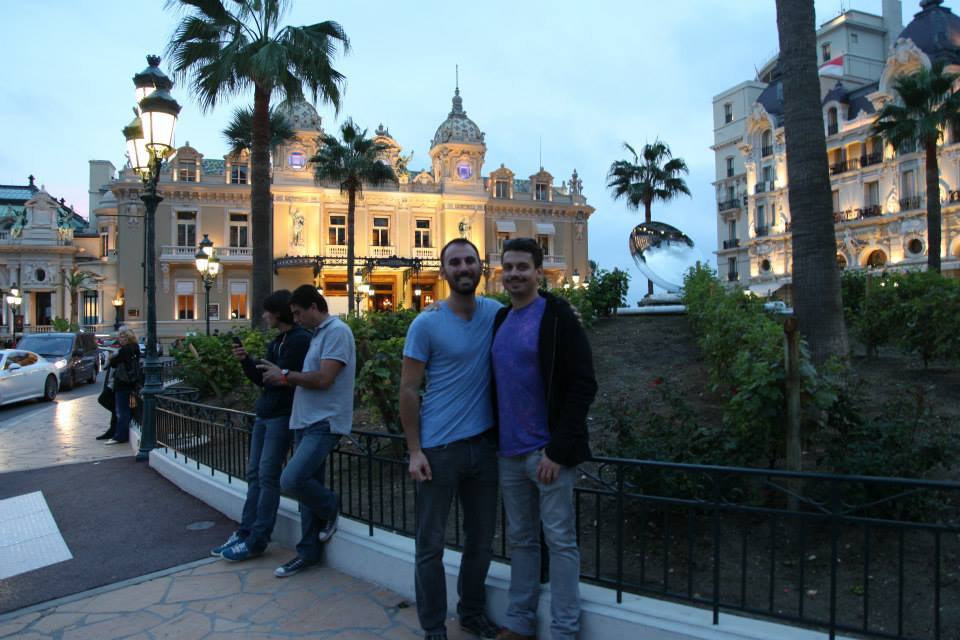 Vid Petrovic and DV outside the Monte Carlo Casino.