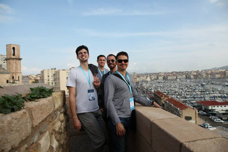The boys from UCSD: David Srour, John Mangan, DV, and Vid Petrovic atop Marseilles' ancient fort.