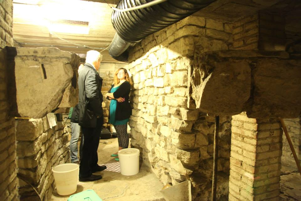 Ashley M. Richter and Maurizio Seracini coordinating digital data collection underneath the Baptistery of St. John