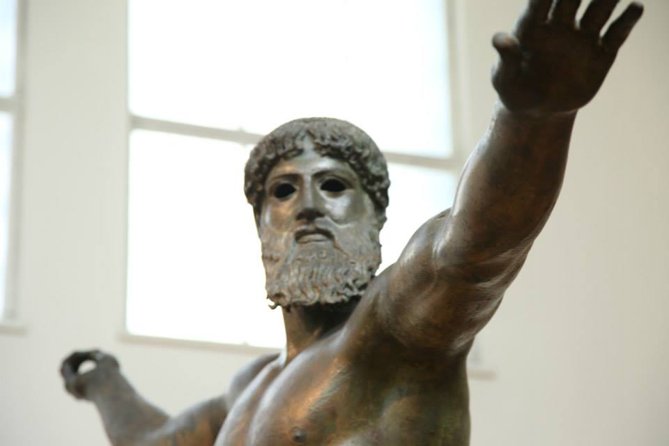 Close up of the Artemision Bronze from the National Archaeology Museum of Athens