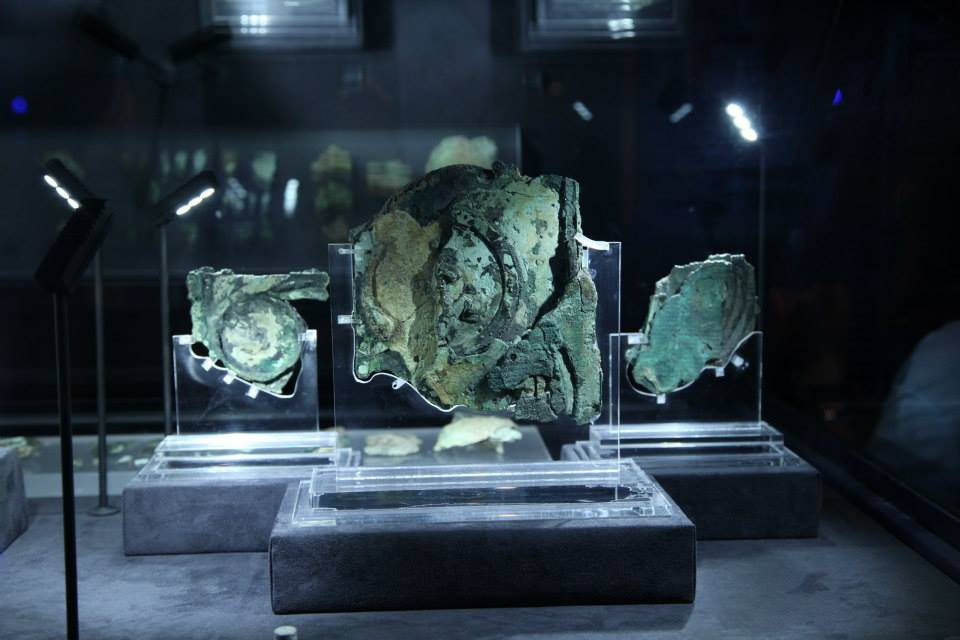 The Antikythera Mechanism on display at the National Archaeology Museum of Athens.