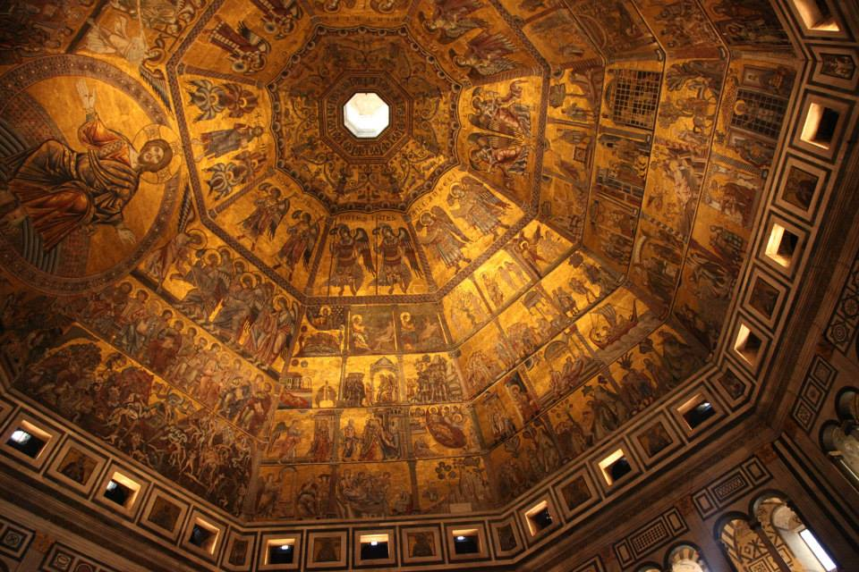 The ceiling mosaics of the Baptistery of St. Giovanni. The tiny tesserae were added over time as the artwork was expanded to cover the whole ceiling. The differences in timing, material, and the shifting of the structure all play a role in the erosion and subsequent erosion monitoring of the site.