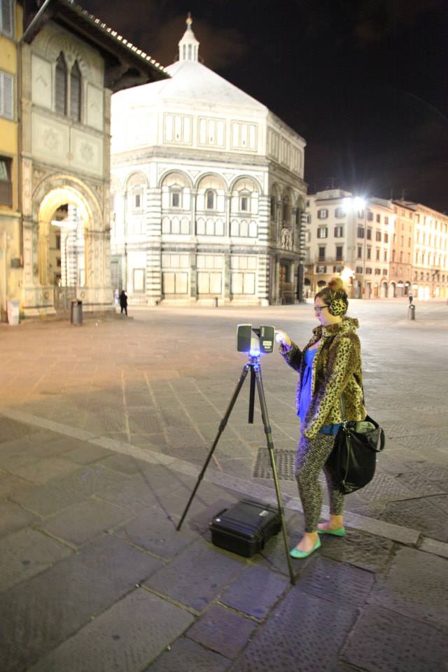More of me (Ashley M. Richter) laser scanning the Baptistery in Florence.