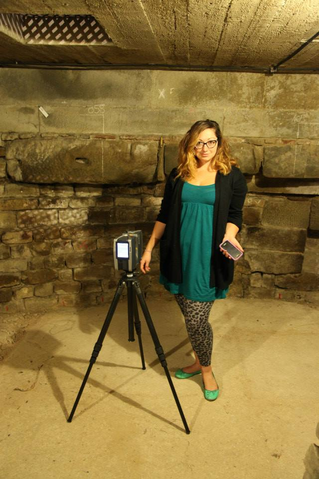 Ashley M. Richter and the Faro Focus 3D scanner setting up to image the subterranean levels of the Baptistery.