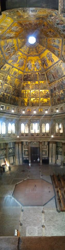 The interior of the Baptistery of St. Giovanni, Florence from the first floor balconies.