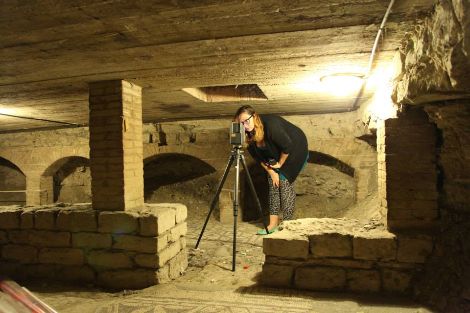 Ashley M. Richter setting up the scanner to image the subterranean level of the Baptistery of San Giovanni in Florence