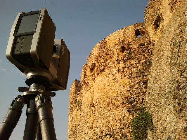 The Faro Focus 3D scanning the exterior of Castello Svevo di Rocca Imperiale.