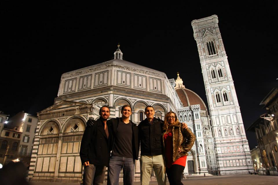 Dv, John Mangan, Mike Hess, and me (Ashley M. Richter) with the Baptistery and Duomo in the background. Throughout all the scanning, Mike conducted exterior thermography whenever it was cold enough, and John handled paradata collection for reproducibility of our results.