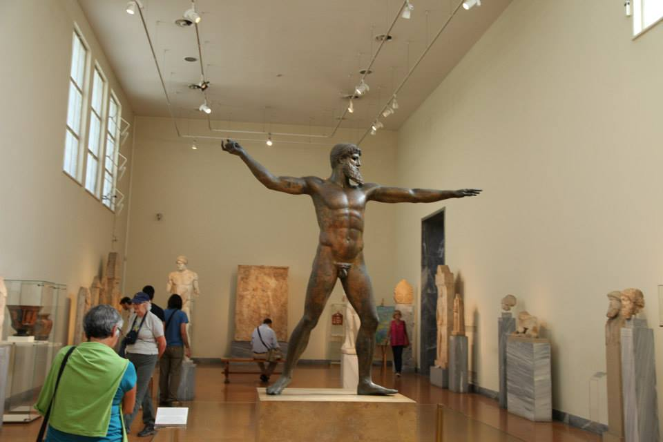 The Artemision Bronze of Zeus or Poseidon- also known as the Lightning Bearer is the central focus of one of the galleries at the National Archaeology Museum of Athens.