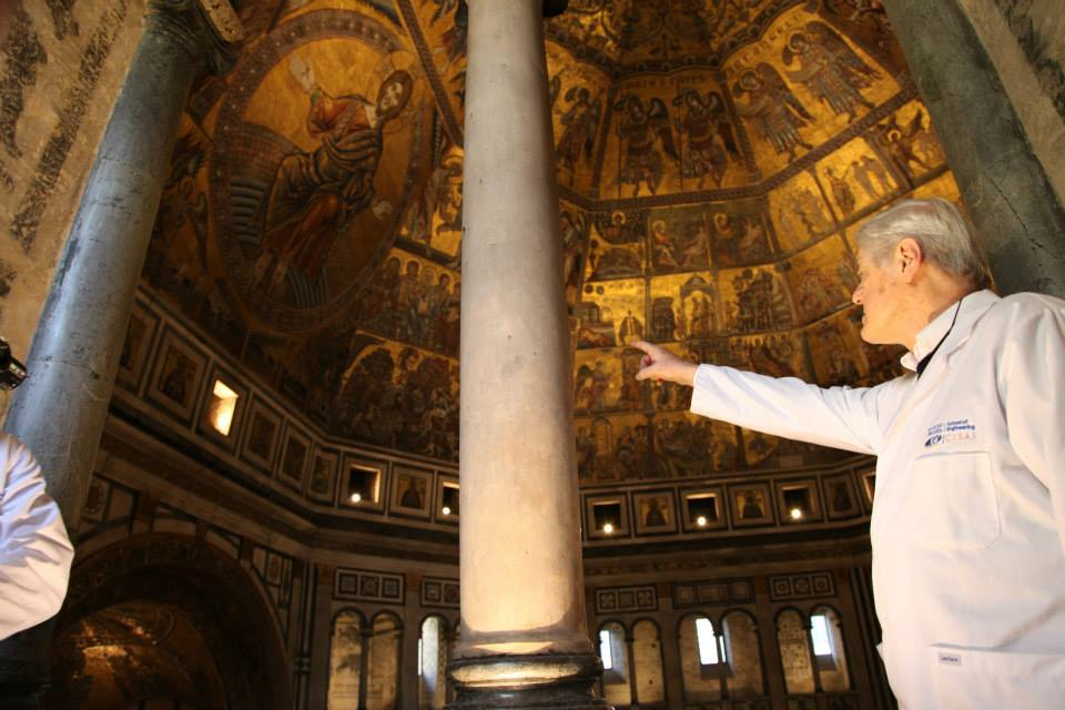 Maurizio Seracini identifying some of the cracking occurring in the dome of the Baptistery of St. Giovanni as he outlines our digitization strategy from one of the site's upper balconies.