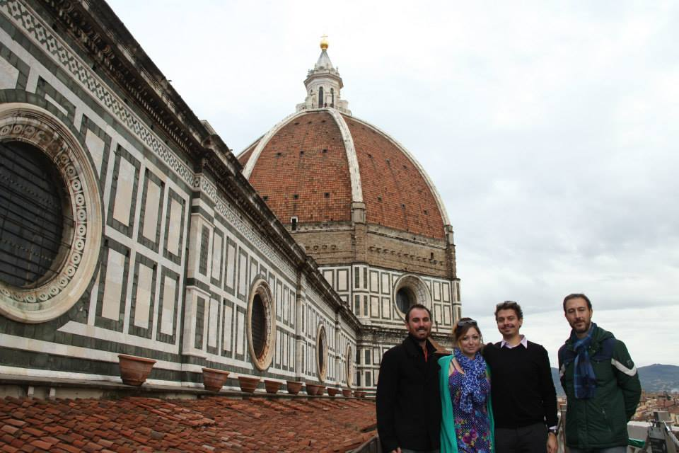 DV, Ashley M. Richter, Vid Petrovic, and our fabulous OPA supervisor after imaging the Baptistery roof from the Duomo.