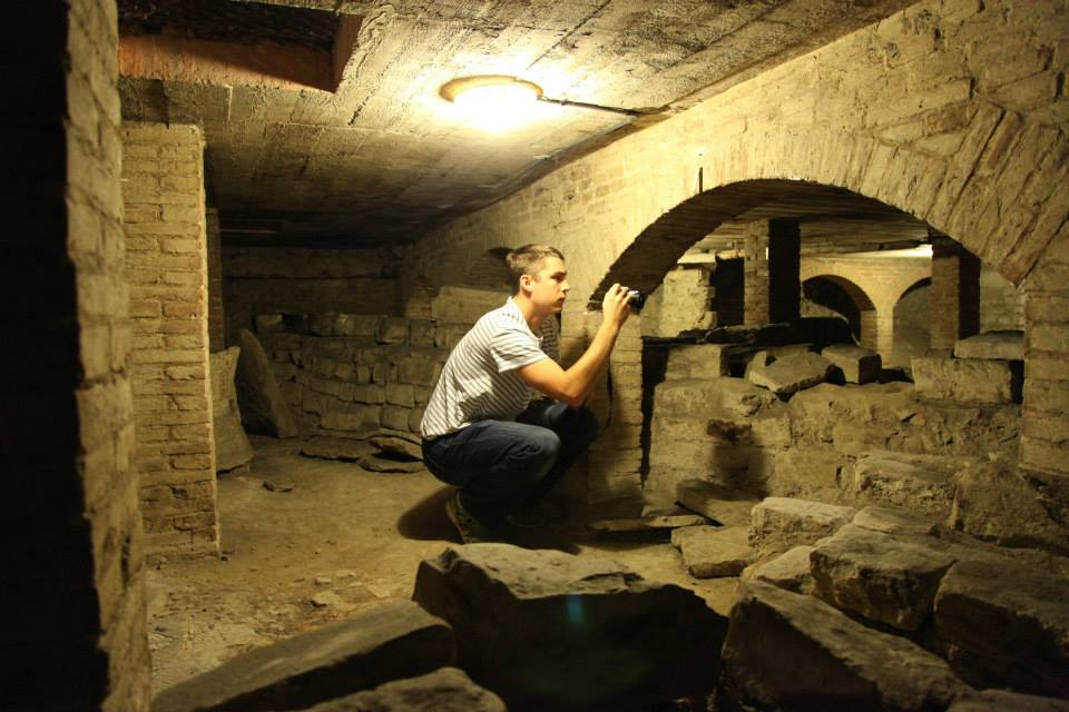 Mike Hess photographing the subterranean level of the Baptistery of San Giovanni, Florence