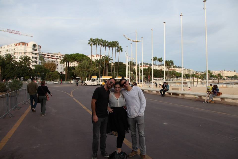 DV, Ashley M. Richter, and Vid Petrovic along the Cannes waterfront.
