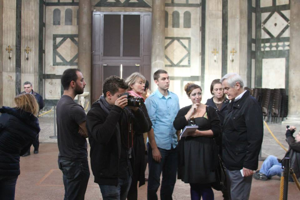 The team planning their digital survey of the Baptistery of St. Giovanni with Maurizio Seracini and Katharina Giraldi-Haller. Vid Petrovic on visual notes. Ashley M. Richter on written ones.