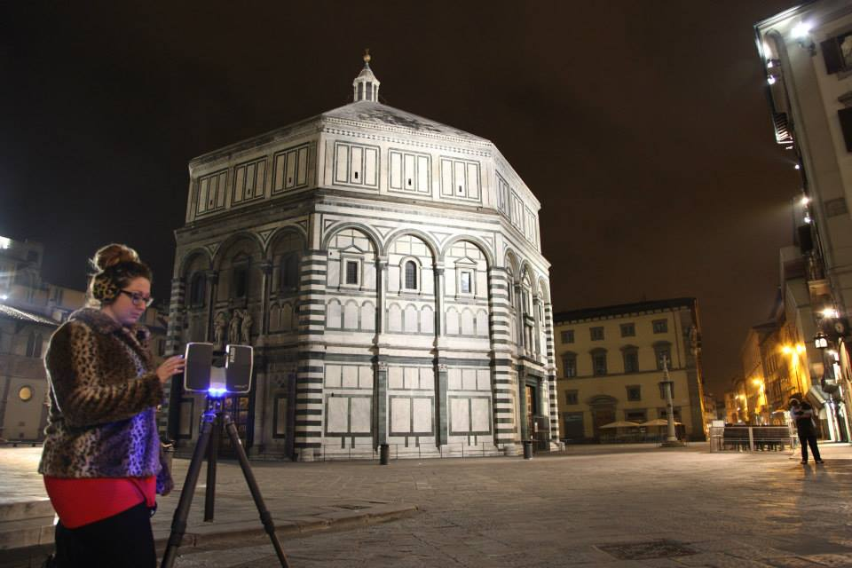 Ashley M. Richter laser scanning the exterior of the Baptistery of St. Giovanni, Florence.