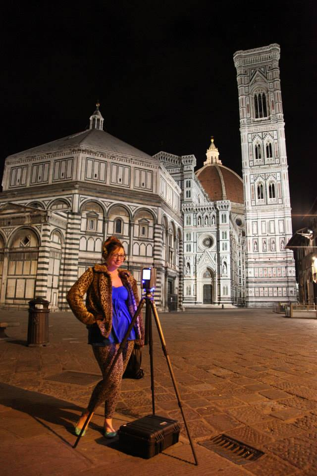 Ashley M. Richter with her trusty Faro Focus 3D outside the Baptistery of St. Giovanni and the Duomo in Florence.