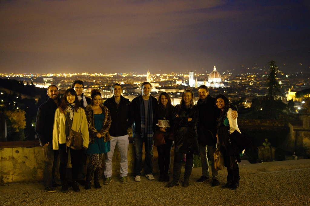 The Fall 2013 Team and Friends at San Miniato al Monte overlooking Florence: DV, Melissa Yui and James Morgan Darling (our visiting museum studies CURIIs), Ashley M. Richter, Mike Hess, and John Mangan, Australian undergraduate Elizabeth Caltabiano, art-historian Katharina Giraldi-Haller, Vid Petrovic, and visiting fabulousness Amardeep Gill.