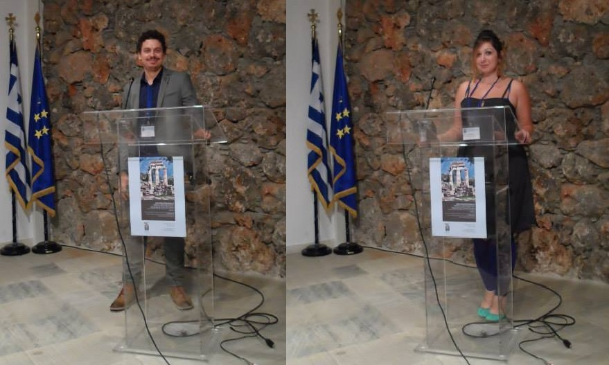 Vid Petrovic and Ashley M. Richter at the podium for the Virtual Archaeology Museums and Cultural Tourism Conference in Delphi, Greece.