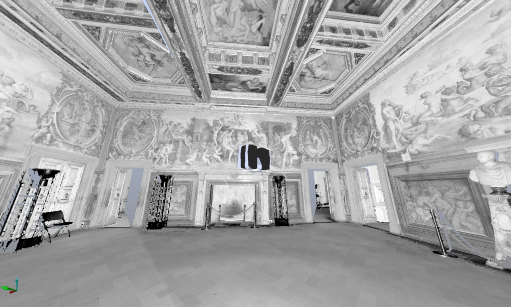A screenshot of an interior laser scan of the Room of the Elements in Palazzo Vecchio.