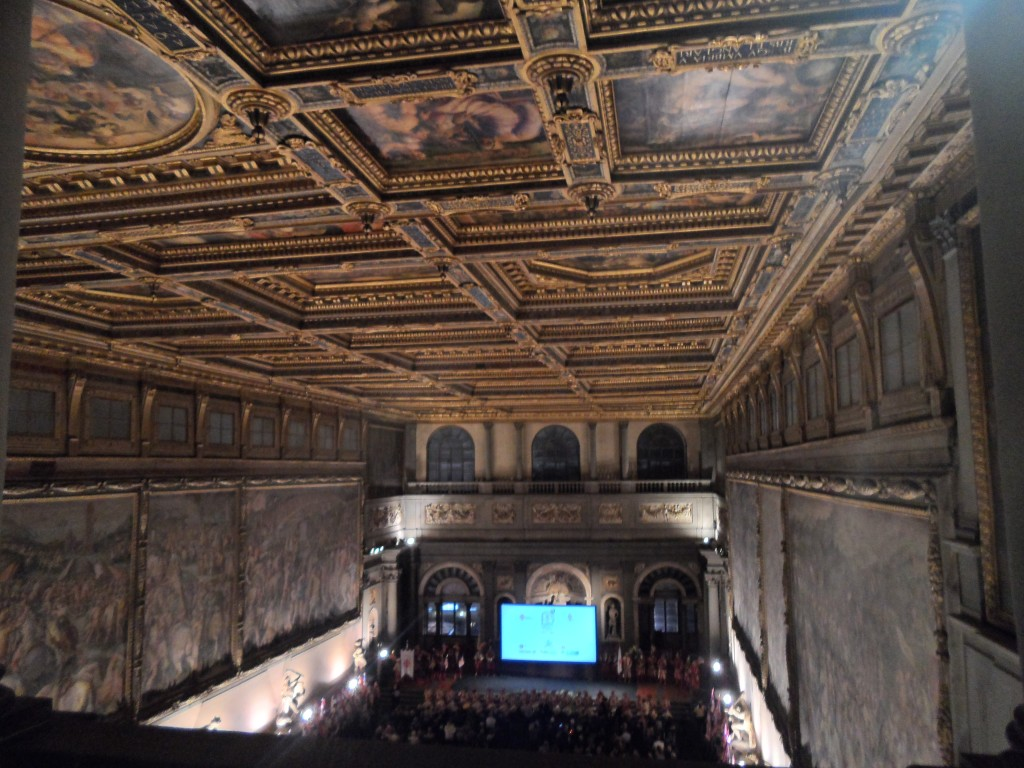 Throughout some of our fieldwork on the upper floors, a local medieval music festival raged in the Salone dei Cinquecento (the Hall of the 500)--the focus of previous team investigations.