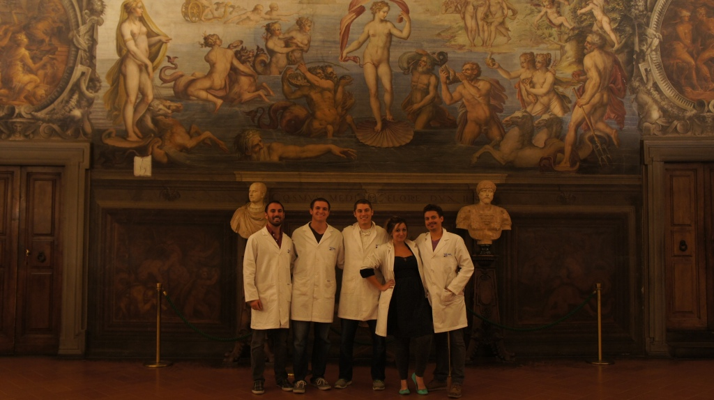 The 2013 Team at Palazzo Vecchio: DV, John Mangan, Mike Hess, Ashley M. Richter, and Vid Petrovic.
