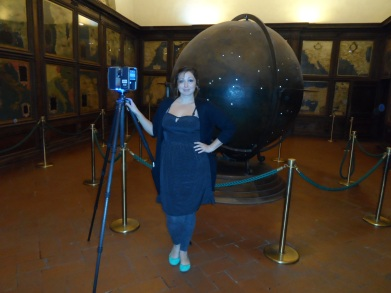 Ashley M. Richter with a Faro Focus 3D after scanning the Mappus Mundi and the Hall of Geographical Maps in Florence's Palazzo Vecchio.