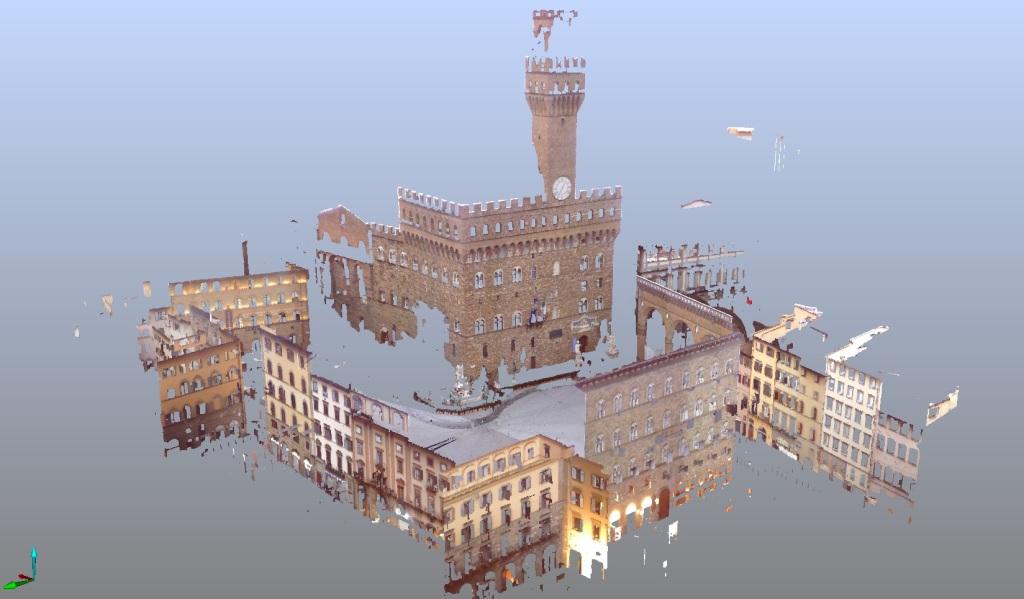 A screenshot of a single scan of Palazzo Vecchio and the Piazza della Signoria in Florence.