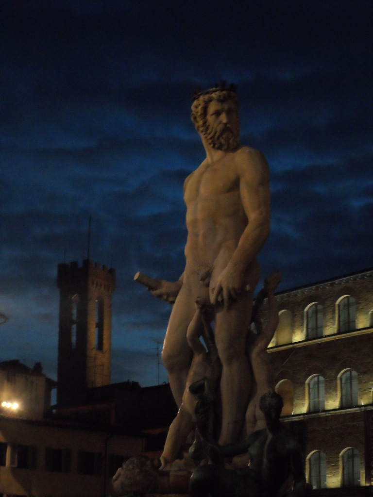 Close up of the Poseidon fountain outside Palazzo Vecchio at dawn.