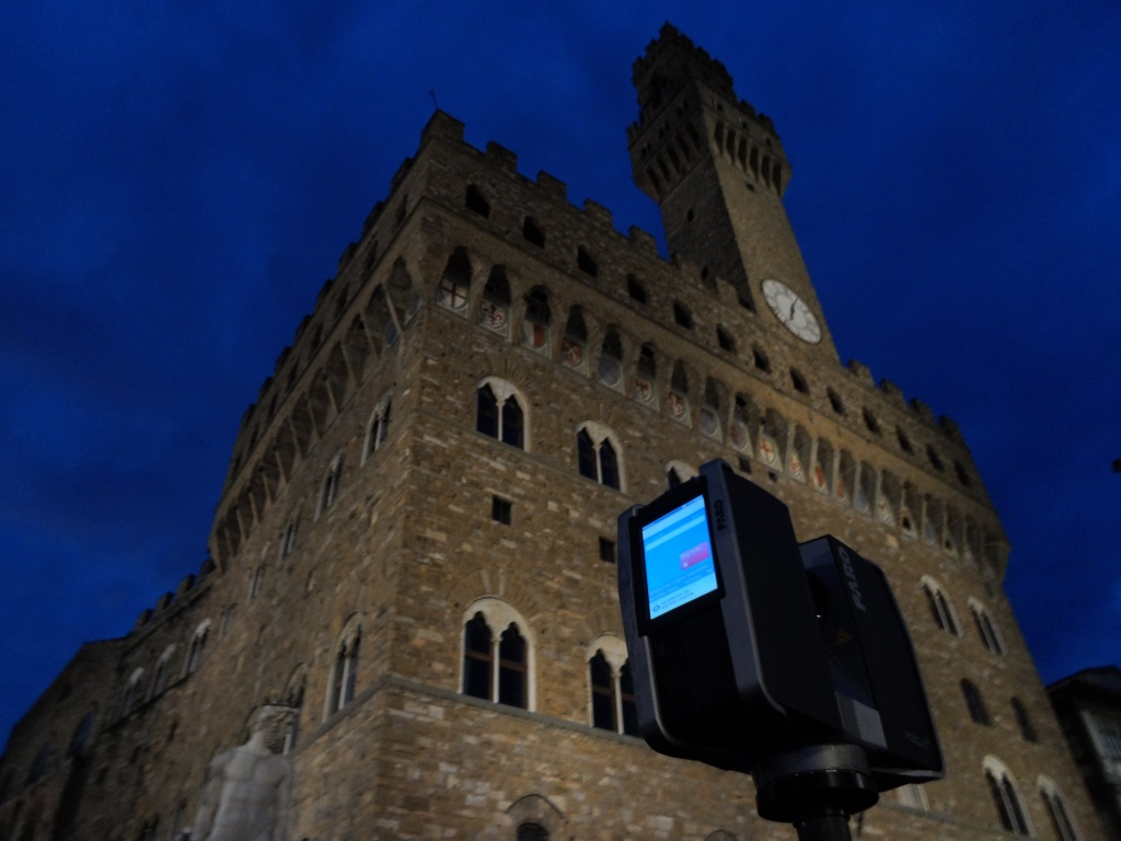 The Faro Focus 3D scanning the front face of Palazzo Vecchio in Florence.