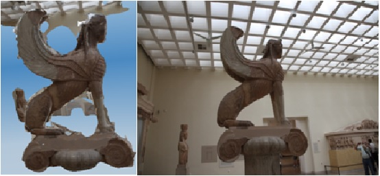 Model and Reality of the Sphinx of Delphi at the Delphi Archaeological Museum in Greece.