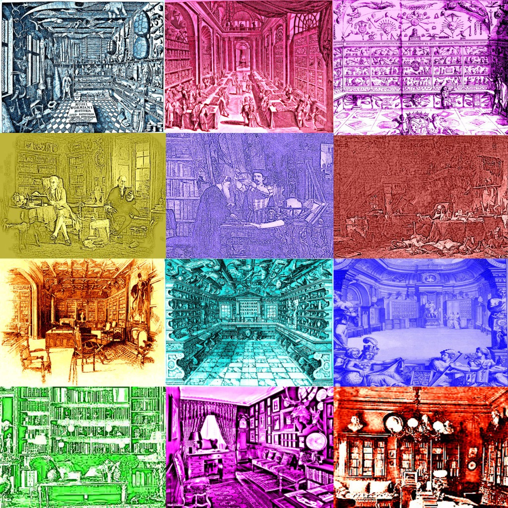 Our re-coloring of the historic Cabinets of Curiosities we'd like to re-imagine with digital art and archaeology.